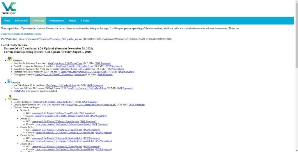 Página de descarga de Veracrypt